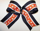 Navy Orange Paw Print Big Cheer Bow