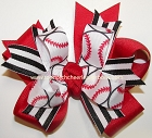 Softball Red White Black Ponytail Hair Bow
