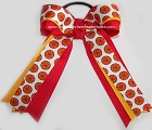 Basketball Yellow Gold Red Glitter Hair Bow