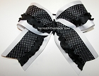 Black White Polka Dot Ruffle Big Cheer Bow