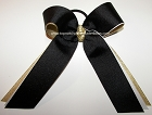 Black White Gold Ponytail Holder Cheer Bow