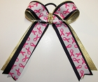 Breast Cancer Ribbons Pink Gold Ponytail Holder Bow