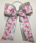 Breast Cancer Ribbon Ponytail Holder Bow