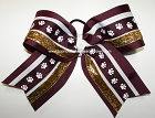 Maroon Paw Print White Gold Big Cheer Bow