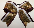 Glitter Leopard Maroon Gold Big Cheer Bow
