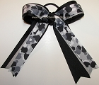 Camouflage Black Gray Ponytail Bow