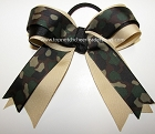 Camouflage Green Ponytail Holder Bow