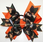 Camouflage Green Orange Ponytail Bow