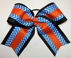 Chevron Blue Black Orange Big Cheer Bow