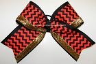 Chevron Neon Orange Gold Big Cheer Bow