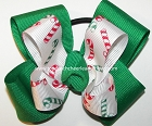 Christmas Candy Cane Green Pigtail Bow