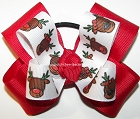 Christmas Rudolph Red Green Pigtail Bow