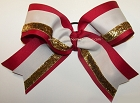 Cranberry Off White Gold Big Cheer Bow