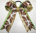 Football Ribbon Metallic Ponytail Holder Cheer Bow
