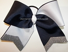 Glitter Navy White Silver Cheer Bow