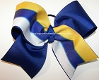Glitter Royal Blue Gold White Cheer Bow