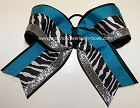 Glitzy Wild Zebra Teal Black Big Cheer Bow