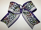 Glitzy Purple White Cheetah Big Cheer Bow
