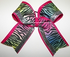 Glitzy Rainbow Zebra Big Cheer Bow