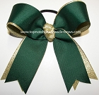 Forest Green Gold Metallic Ponytail Bow