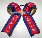 Gymnastics Red Blue Gold Ponytail Bow