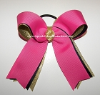 Gymnastics Hot Pink Navy Gold Ponytail Bow