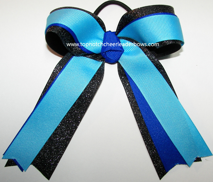blue black glitter bow