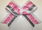 Zebra Hot Pink White Big Cheer Bow