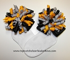 Korkers Black Yellow Gray Girls Bow Socks