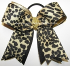 Leopard Black Gold Ponytail Holder Bow