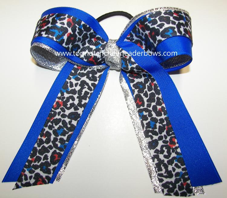 Bulk Leopard Blue Silver Bow Bulk Cheetah Blue Silver