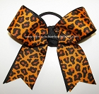 Leopard Orange Black Ponytail Holder Bow