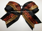 Cheetah Orange Black Gold Big Cheer Bow