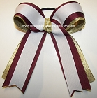 Maroon White Gold Ponytail Holder Cheer Bow