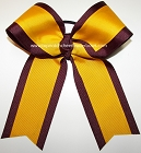 Maroon Yellow Gold Cheer Ponytail Holder Bow