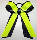 Navy Neon Yellow Cheer Ponytail Holder Bow