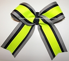 Navy Neon Yellow Gray Cheer Bow