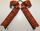 Tigers Orange Black Metallic Ponytail Bow