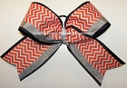 Chevron Orange Navy Silver Big Cheer Bow
