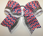 Patriotic Chevron Silver Big Cheer Bow