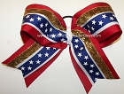 Patriotic Red White Blue Stars Gold Big Cheer Bow