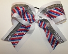 Patriotic Red White Blue Silver Stars Cheer Bow