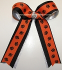 Paw Print Orange Black Ponytail Bow