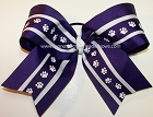 Purple Paw Print Big Cheer Hair Bow