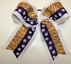 Tigers Purple Yellow Gold Big Cheer Bow