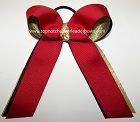 Red Black Gold Ponytail Holder Cheer Bow