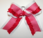 Red White Gingham Ruffle Big Cheer Bow