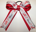Cheerleader Red Gray Ponytail Holder
