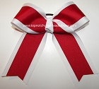Red White Cheer Ponytail Holder Bow