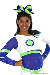 Glitzy Royal Lime Green Big Cheer Bow